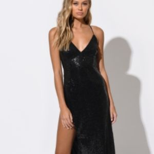 Brand new black sequin maxi dress with high slit